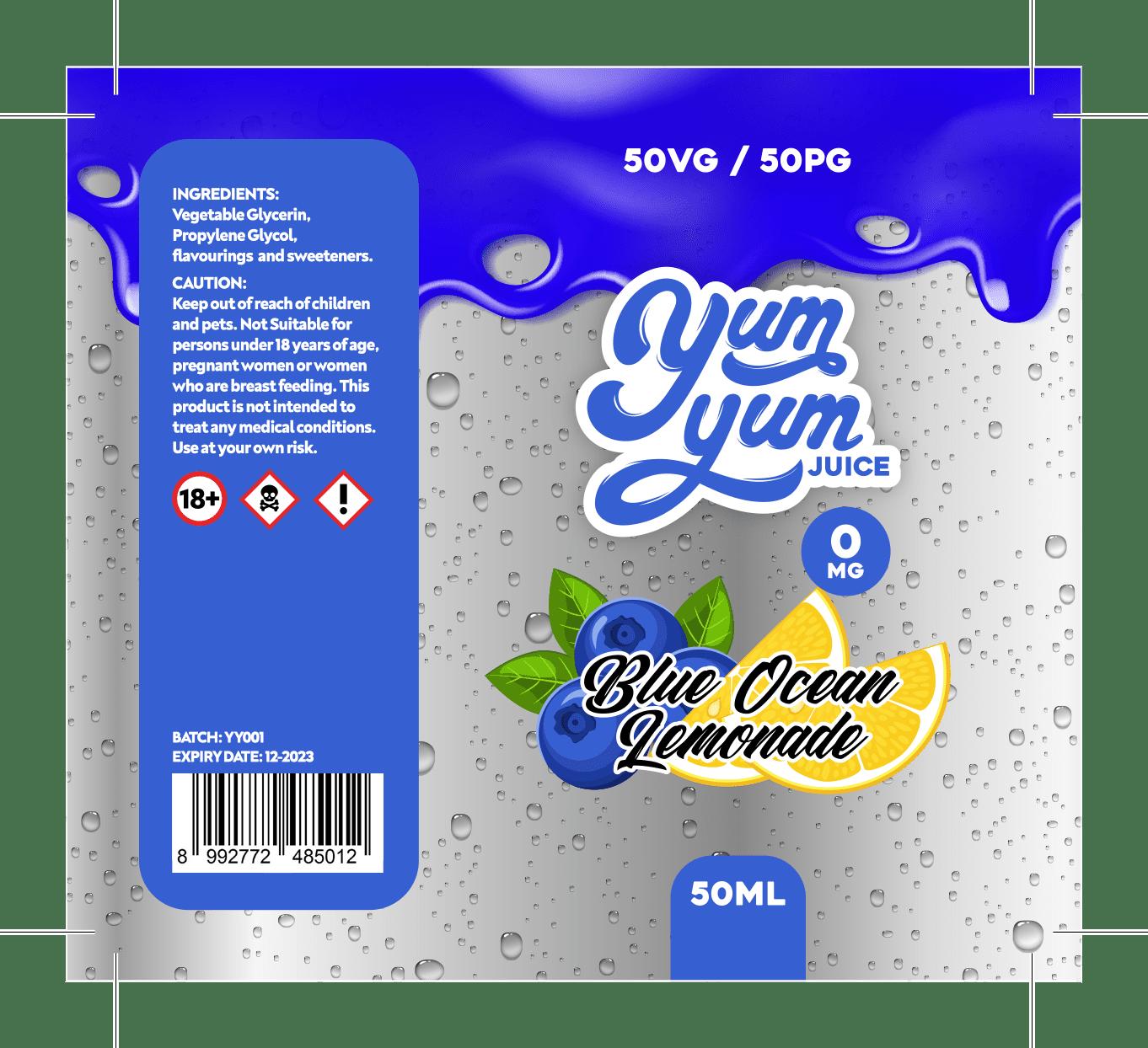 Yum Yum Labels - Blue Ocean Lemonade